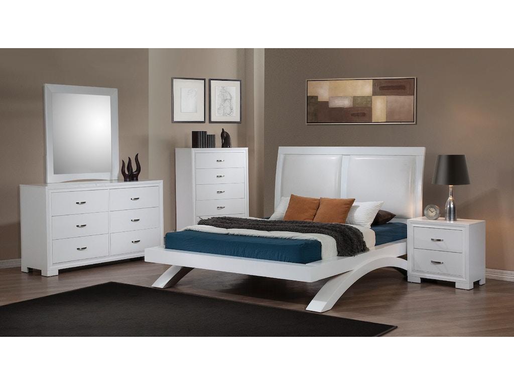 Elements International Raven White Upholstered Bedroom