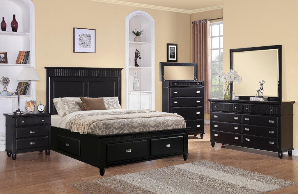 Elements International Spencer Black Storage Bedroom
