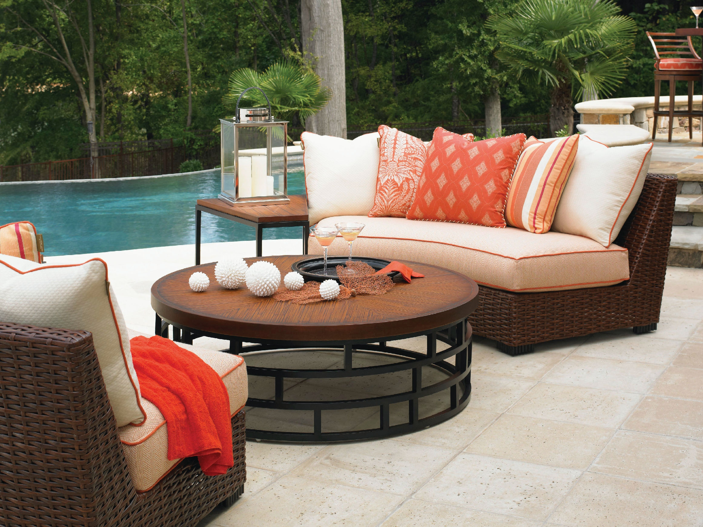 ... Tommy Bahama Outdoor Living Sectional Armless Curved Sofa 3130 82A