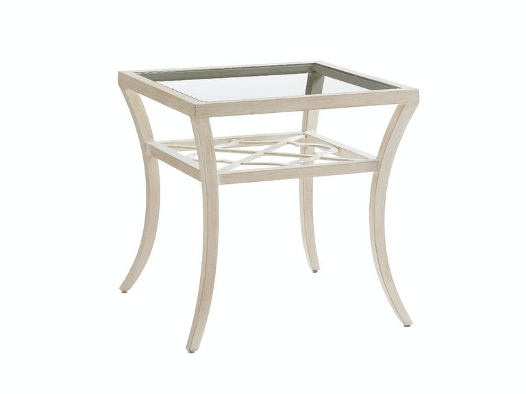 Tommy Bahama Outdoor Living Square End Table With Inset Glass Top 3239-955
