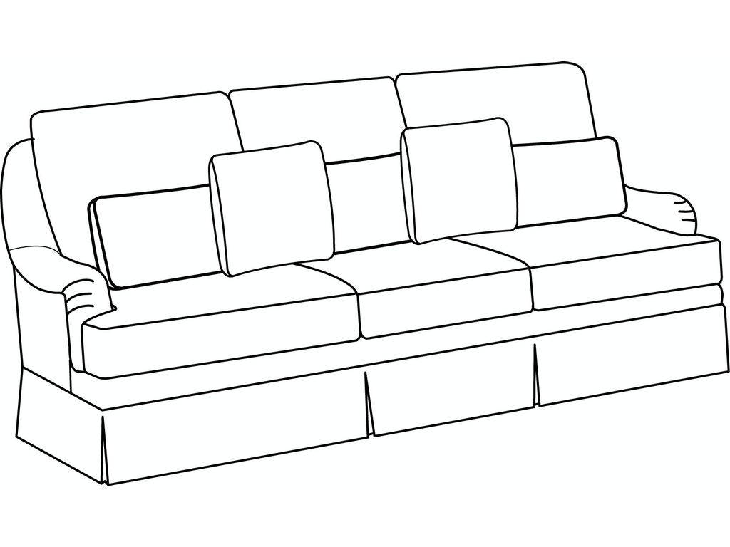 EJ Victor Living Room Exeter Sofa with Dressmaker Skirt 630-110D ...