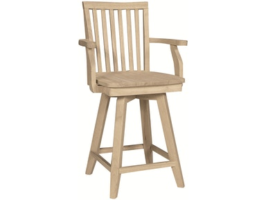 John Thomas Bar and Game Room 24'' Mission Arm Swivel<br><br>30''H stool available