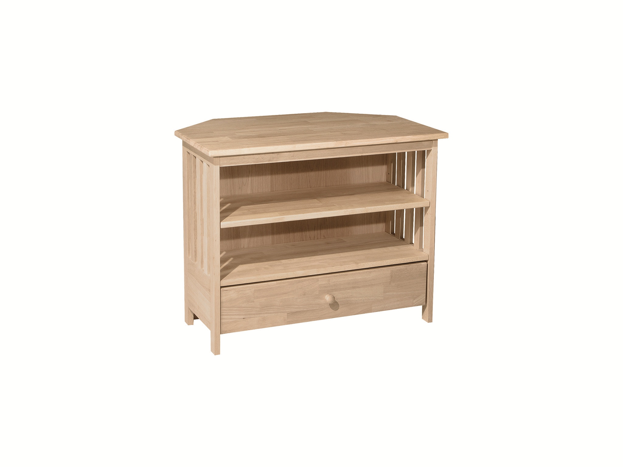 John Thomas Home Entertainment Mission Corner TV Stand<br><br>Requires 24'' corner & extension glides
