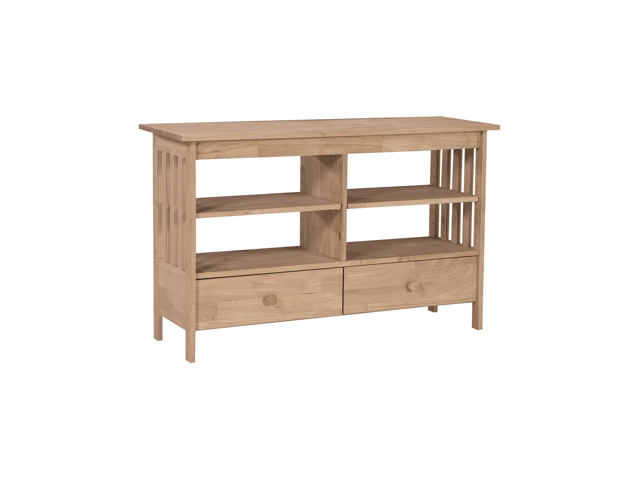 John Thomas Home Entertainment 48'' Mission Entertainment Stand<br><br>Two adjustable shelves & extension glides