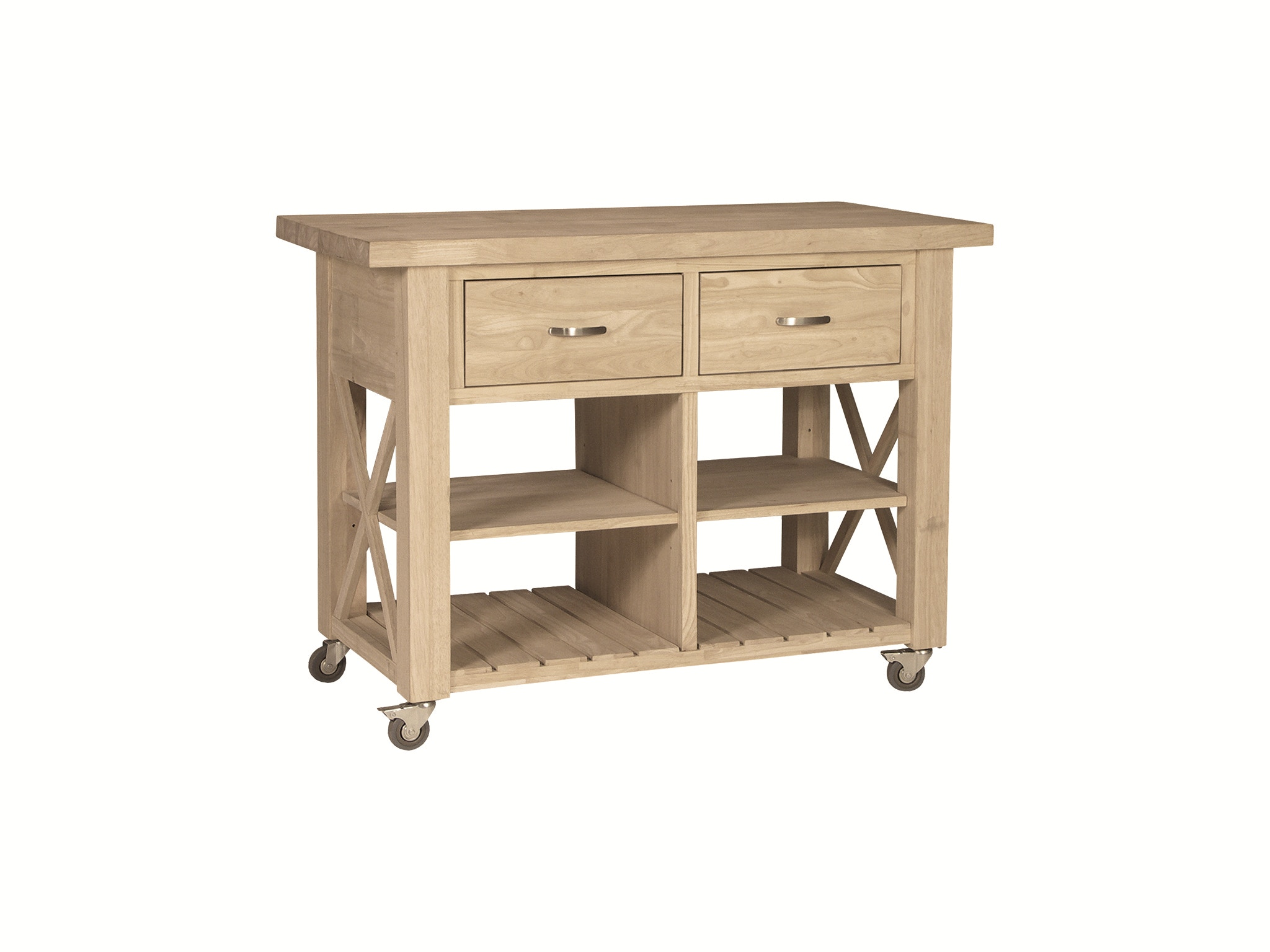 John Thomas Kitchen X-Side Kitchen Island<br><br>Two adjustable shelves, full extension glides, three hooks on right side