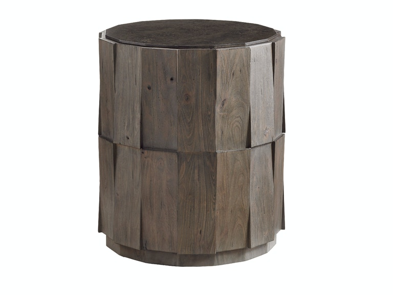 Tommy Bahama Home Everett Round Travertine End Table 562-951
