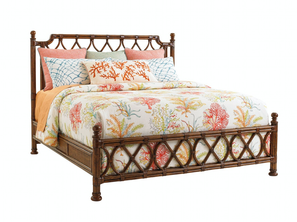 Tommy bahama home bedroom island breeze rattan bed 6 6 for Key west style bedroom furniture