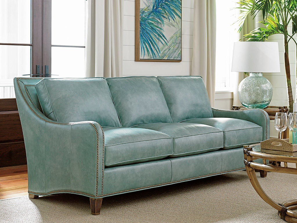 Tommy Bahama Home Living Room Koko Leather Sofa LL7212-33 - Royal ...
