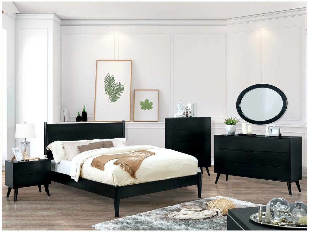 Furniture of America Queen Bed, Black CM7386BK-Q-BED