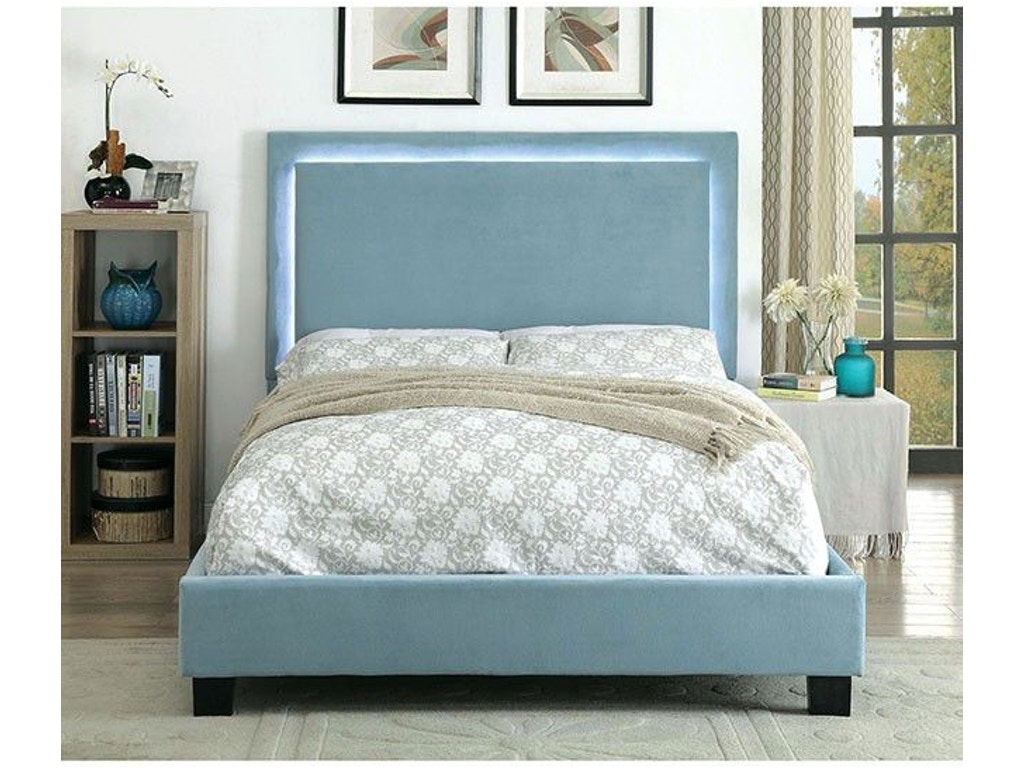 Furniture of America Queen Bed, Blue CM7695BL-Q-BED