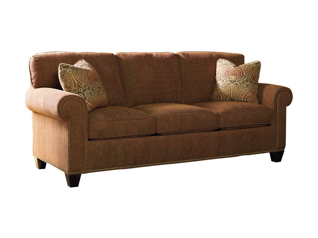 sherrill three cushion sofa w nail trim