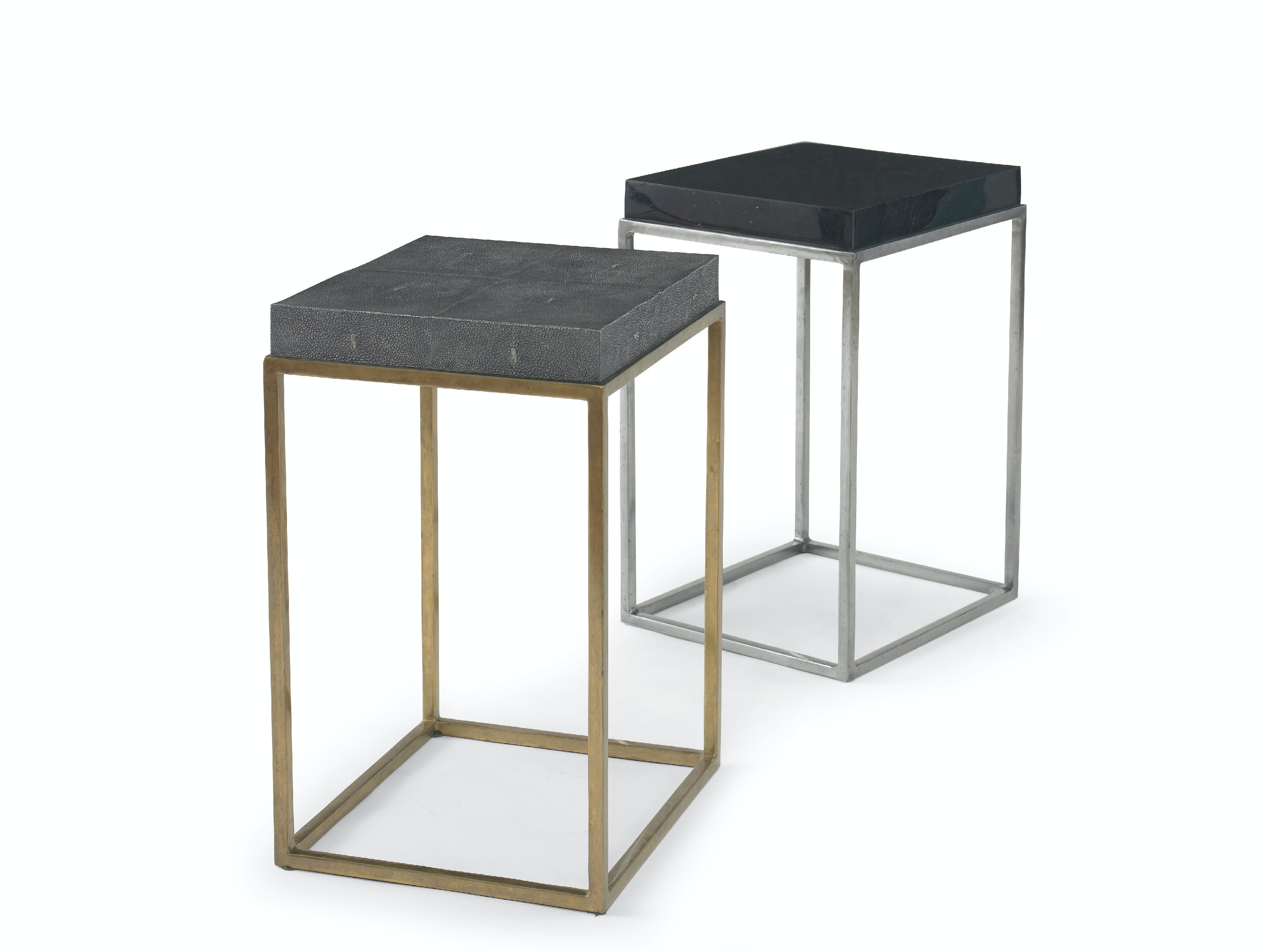 Kravet Brass/Faux Shagreen Side Table OT802B/S