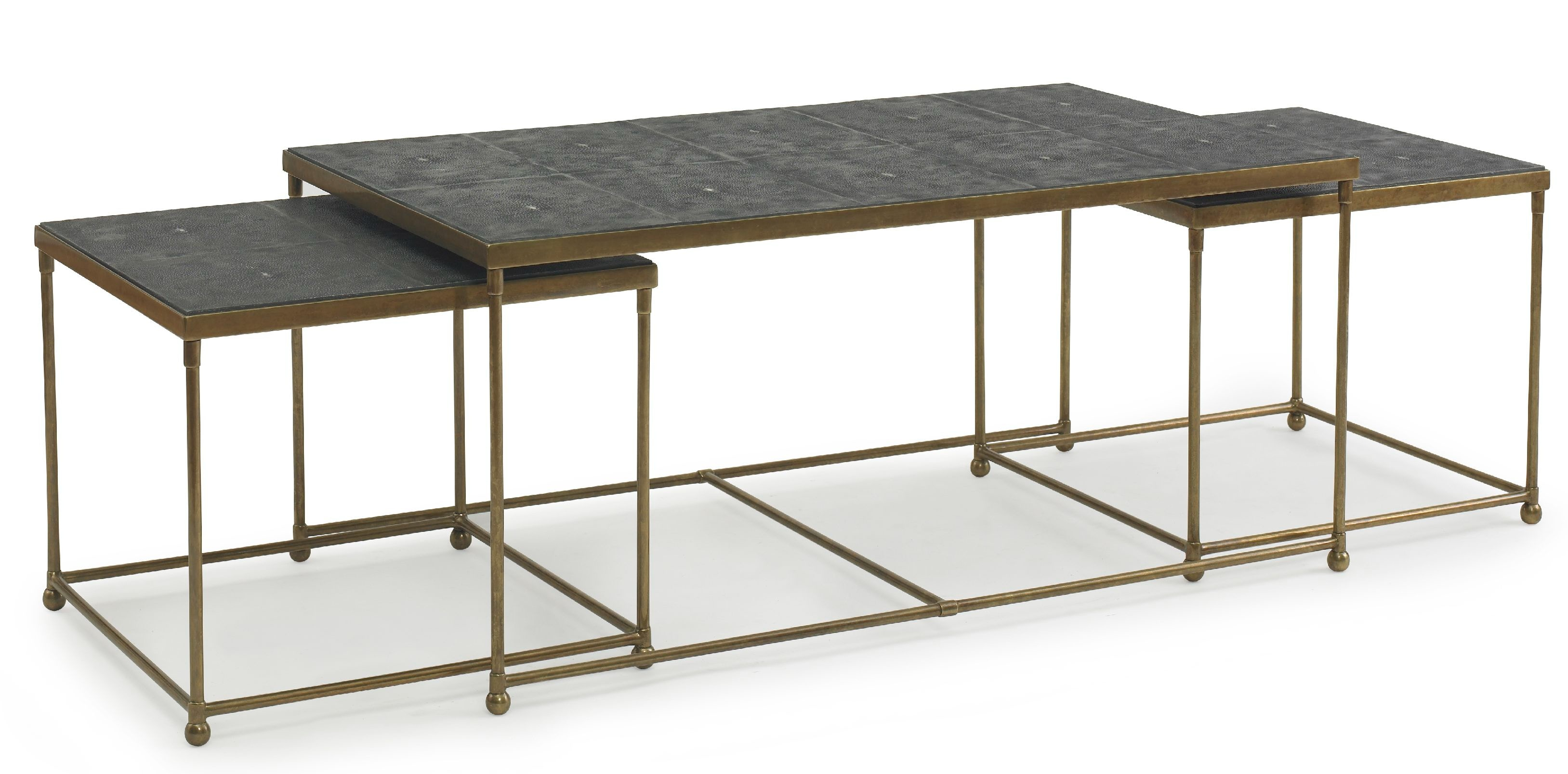 Brass/Faux Shagreen Nesting Cocktail Table