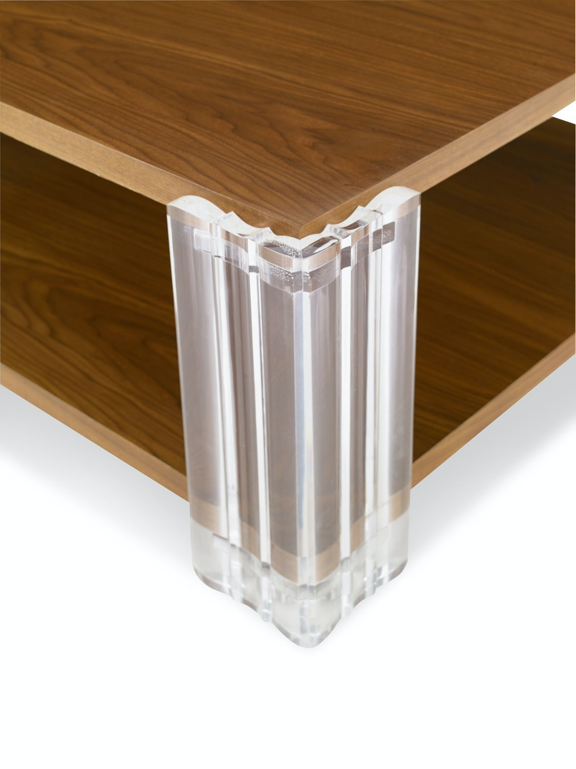 Kravet Walnut And Acrylic Cocktail Table OT850