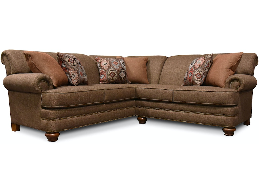 England living room reed sectional with nails 5q00n sect for Living room furniture configurations