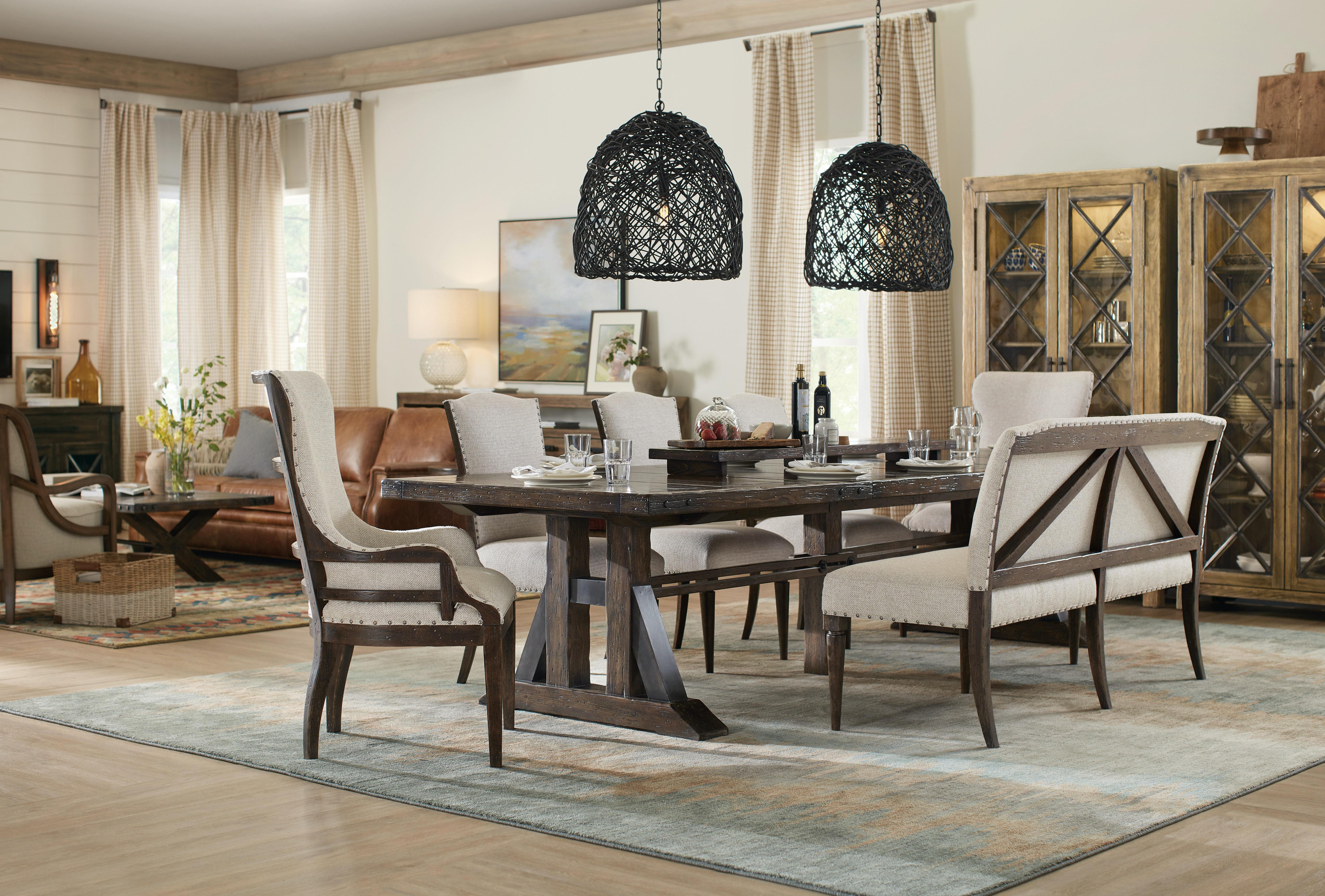 Hooker Furniture Roslyn County Trestle Dining Table W/2 21in Leaves  1618 75207