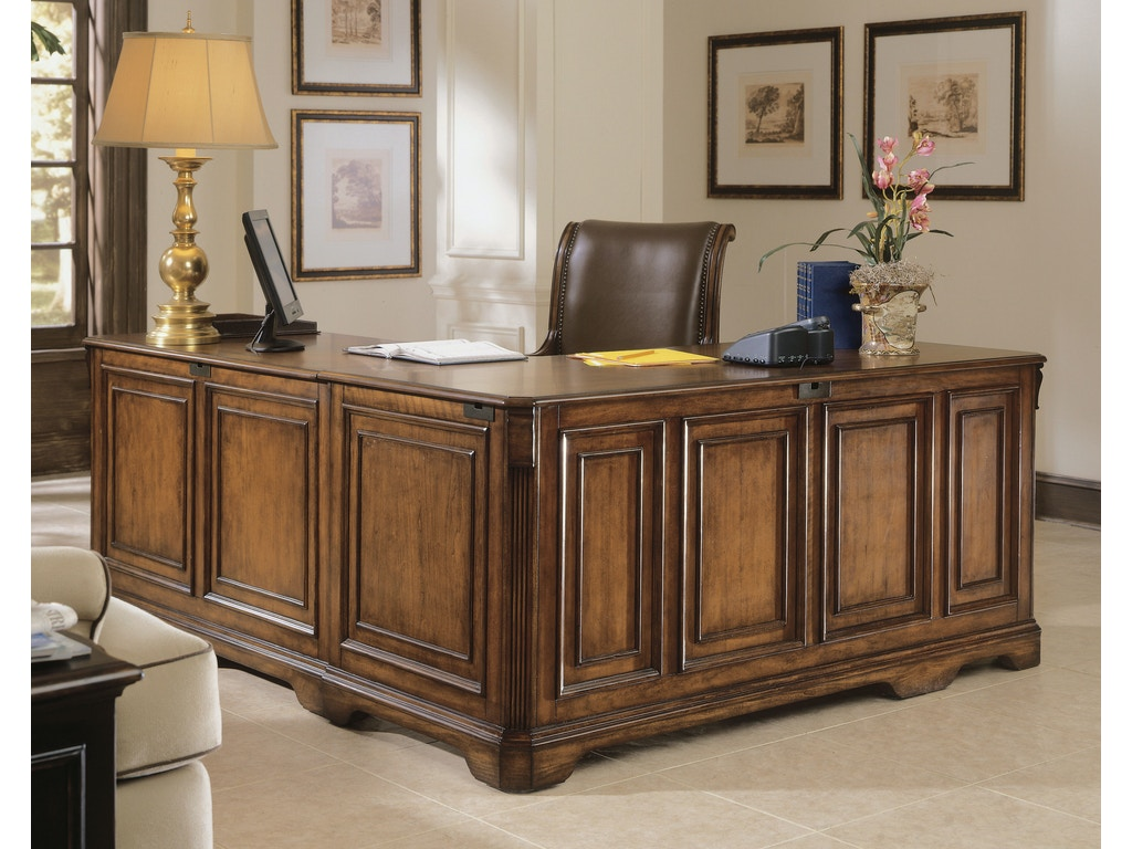 Hooker furniture home office brookhaven executive l right return 281 10 453 hatch furniture - Hooker home office furniture ...