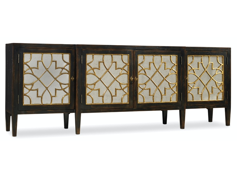 Hooker Furniture Sanctuary Four Door Mirrored Console- Ebony 3005-85005