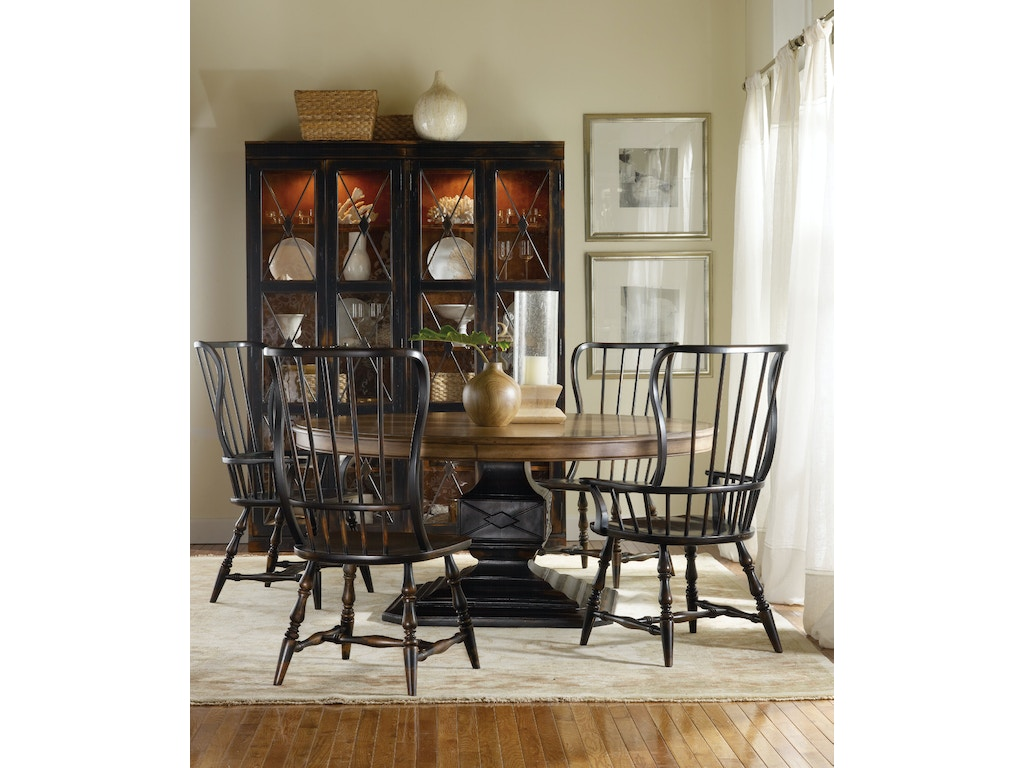 Hooker Furniture Dining Room Sanctuary Spindle Side Chair Ebony 3005 75310 Meg Brown Home