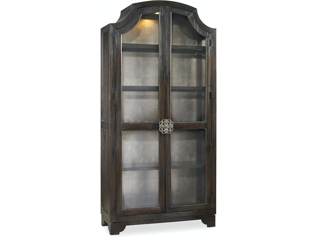 Hooker Furniture Dining Room Sanctuary Glass Bunching Curio Ebony Antiqued Oak 3031 50001