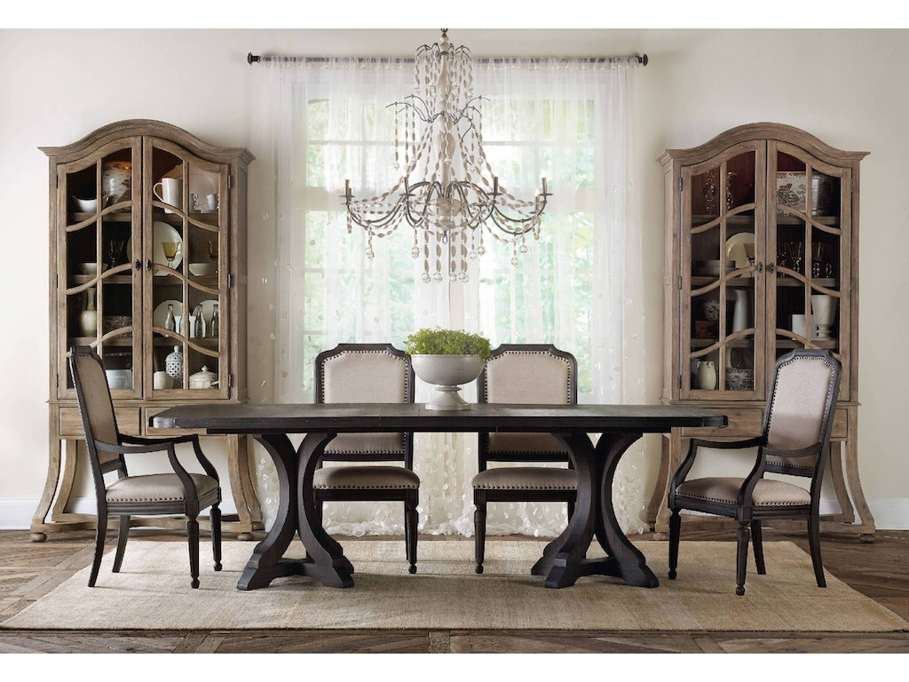 Hooker Furniture Dining Room Corsica Dark Rectangle Pedestal Dining Table W 2 20in Leaves 5280