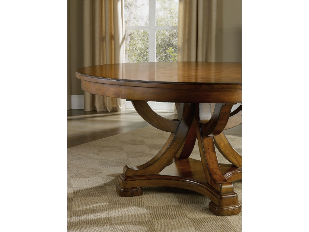 Hooker furniture dining room tynecastle round pedestal for Circle dining room table with leaf