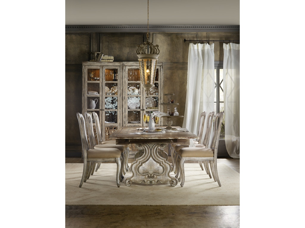 Hooker Furniture Dining Room Chatelet Refectory Rectangle Trestle Dining Table With Two 22