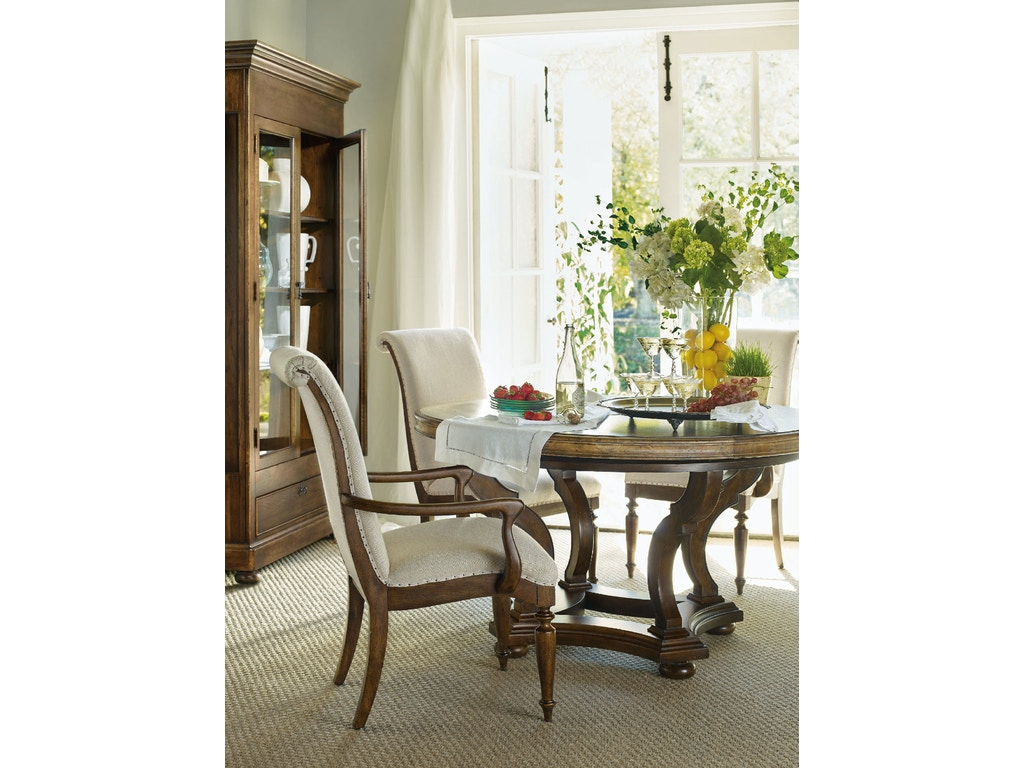 Hooker Furniture Dining Room Archivist 54in Round Dining Table W 1 18in Leaf 5447 75203 Toffee