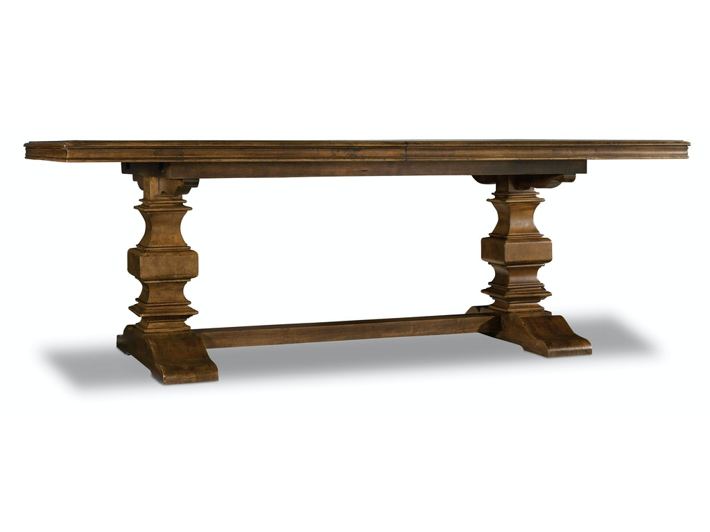 Hooker furniture dining room archivist trestle table w 2 for Dining room tables trestle