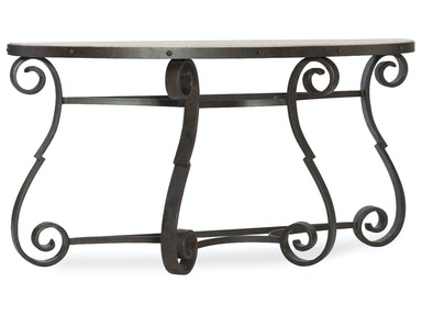 Luckenbauch Metal and Stone Demilune Console 5960-80151-MTL