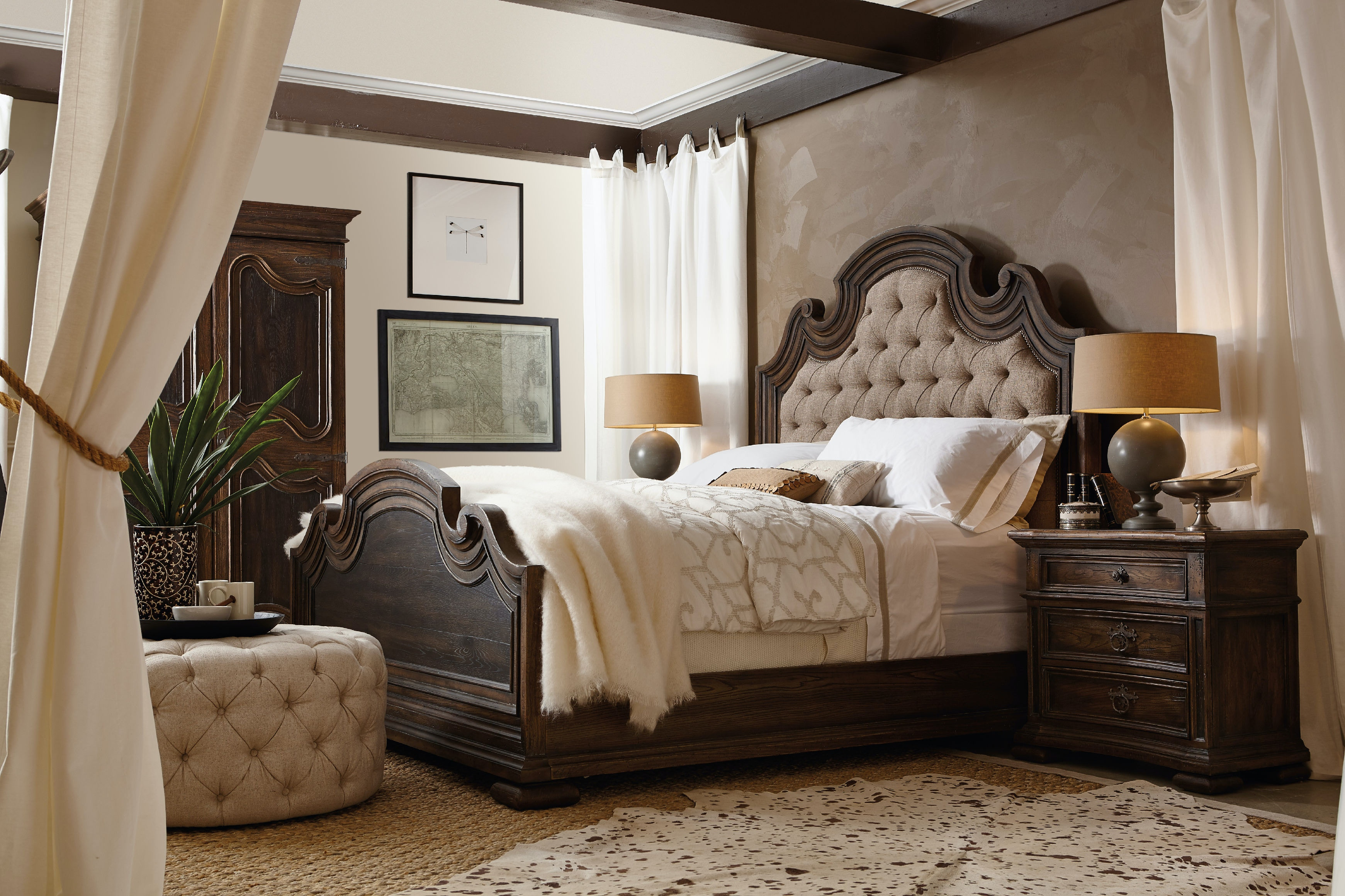 Hooker Furniture Bedroom Fair Oaks King Upholstered Bed 5960 90866 Multi Georgian Furnishing