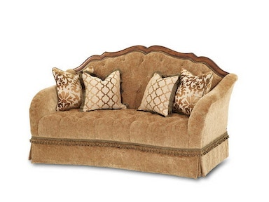 Aico Amini Innovations Living Room Wood Trim Tufted Loveseat