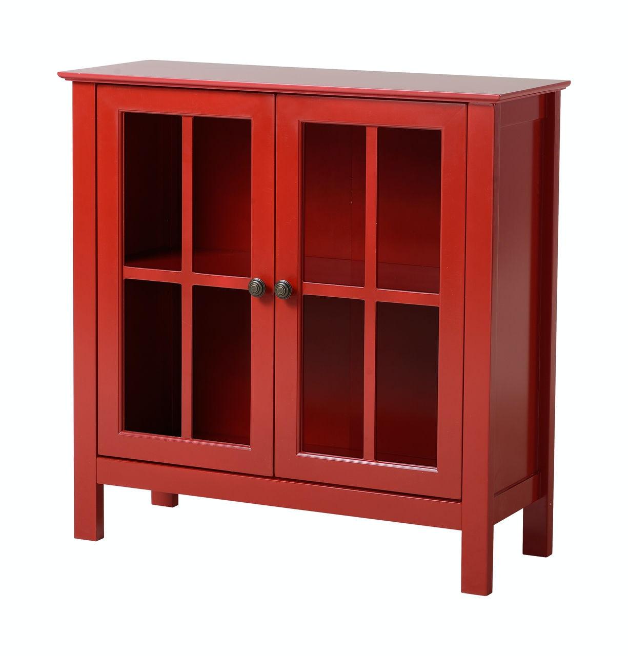 American Furniture Classics Red Glass Door Accent Cabinet 1 22603