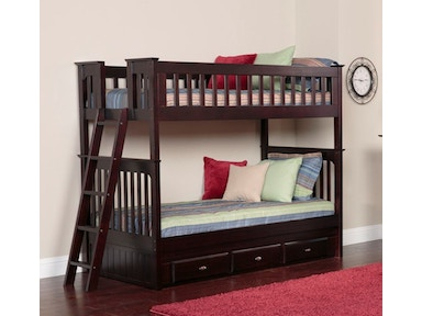 American Furniture Classics Twin over Twin Bunkbed with 3 Underbed Drawers and Desk, Hutch and Chair in Espresso 2910-3-TTE