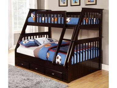 American Furniture Classics Twin over Full Bunkbed with 3 Underbed Drawers and Desk, Hutch, and Chair in Espresso 2918-3-TFE