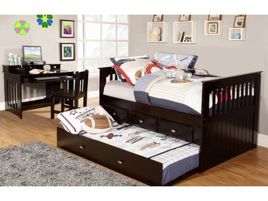 American Furniture Classics Twin Rake Bed with Trundle, 3 Underbed Drawers, Desk, Hutch and Chair in Espresso 2935-3-TRE