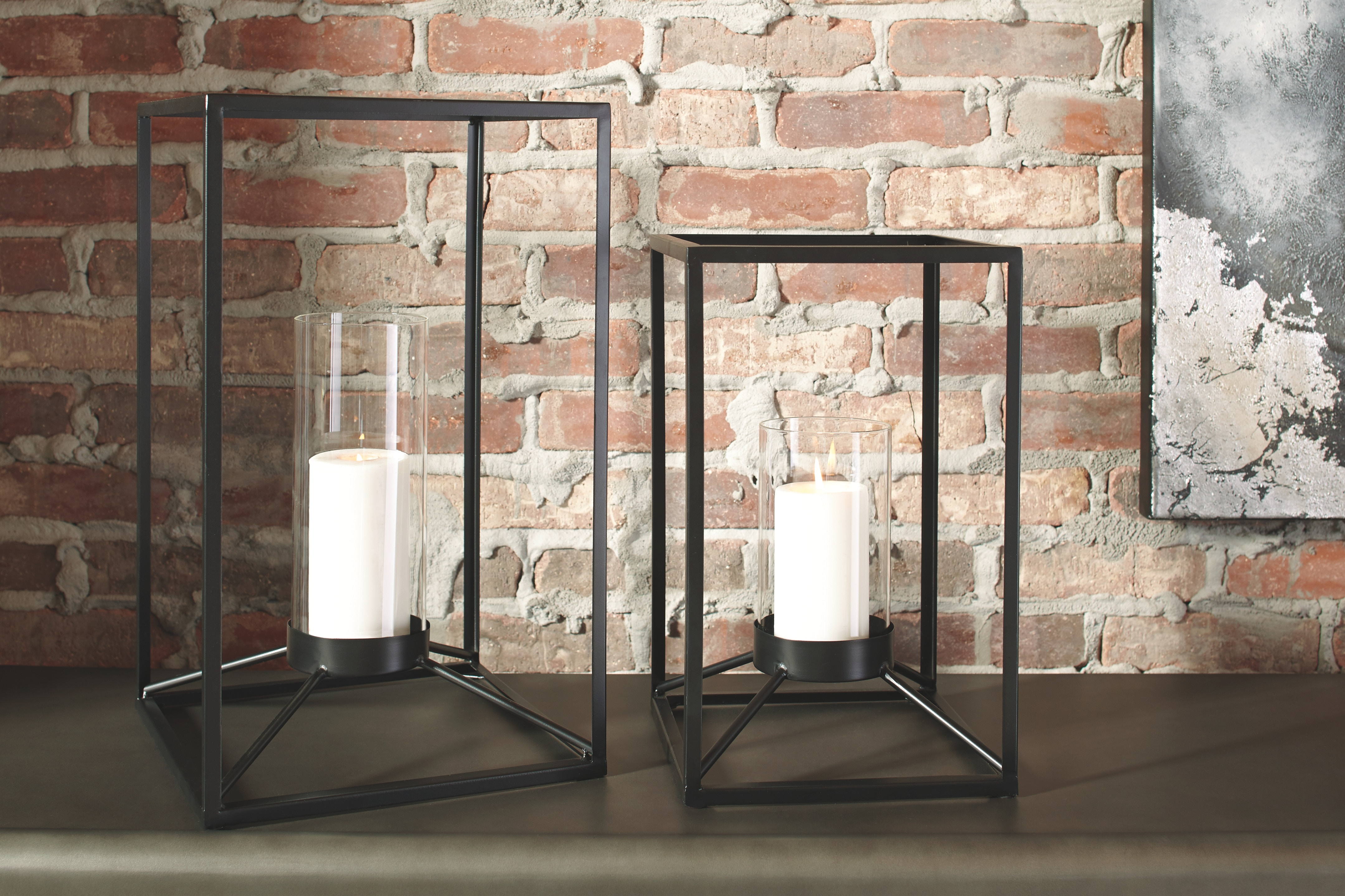 Signature Design By Ashley Outdoor Patio Lantern Set 2 Cn A2000133