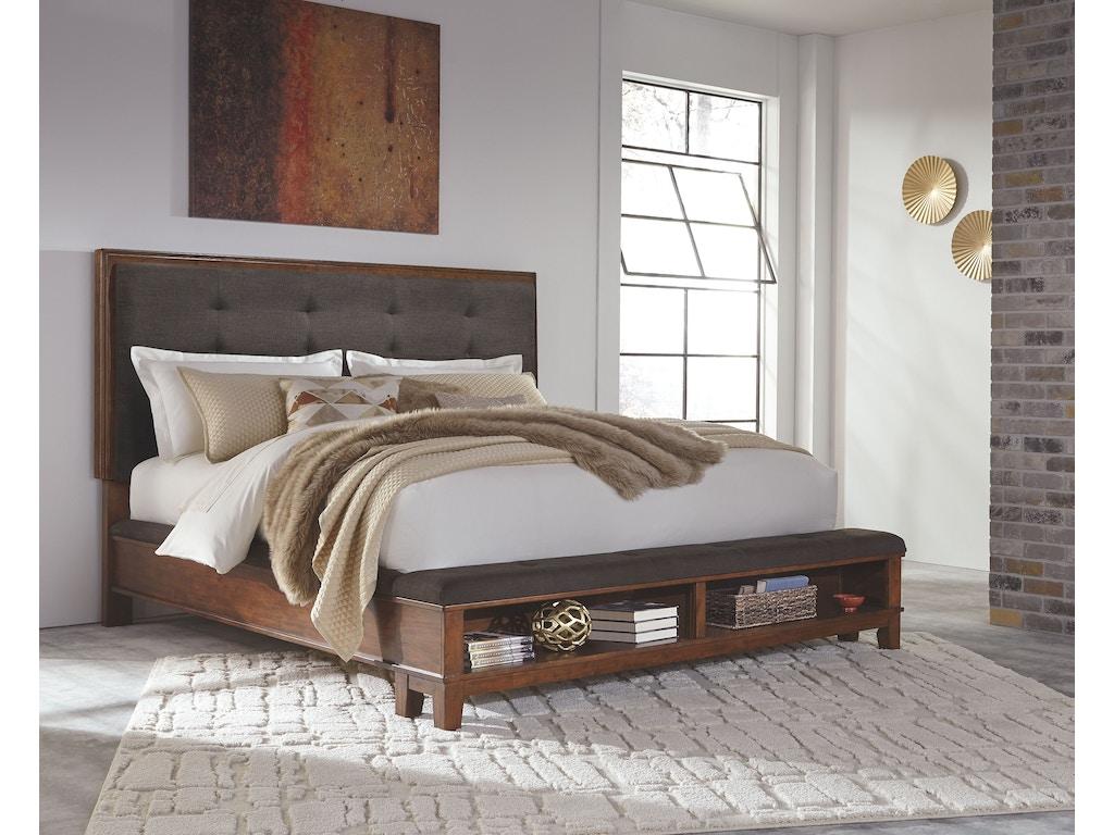 Signature design by ashley bedroom cal king upholstered for Bedroom furniture 28117