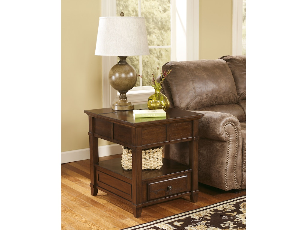 Signature Design By Ashley Living Room Rectangular End Table T845 3 Sides Furniture Bedding