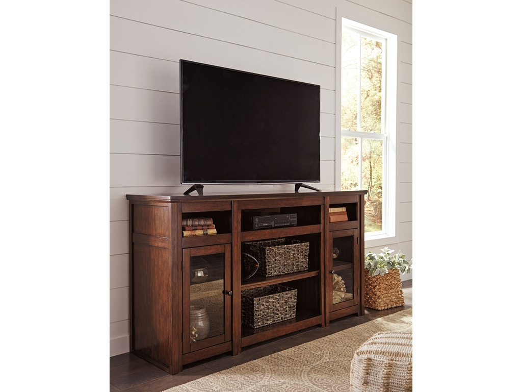 Signature design by ashley harpan xl tv stand w fireplace for Fireplace options