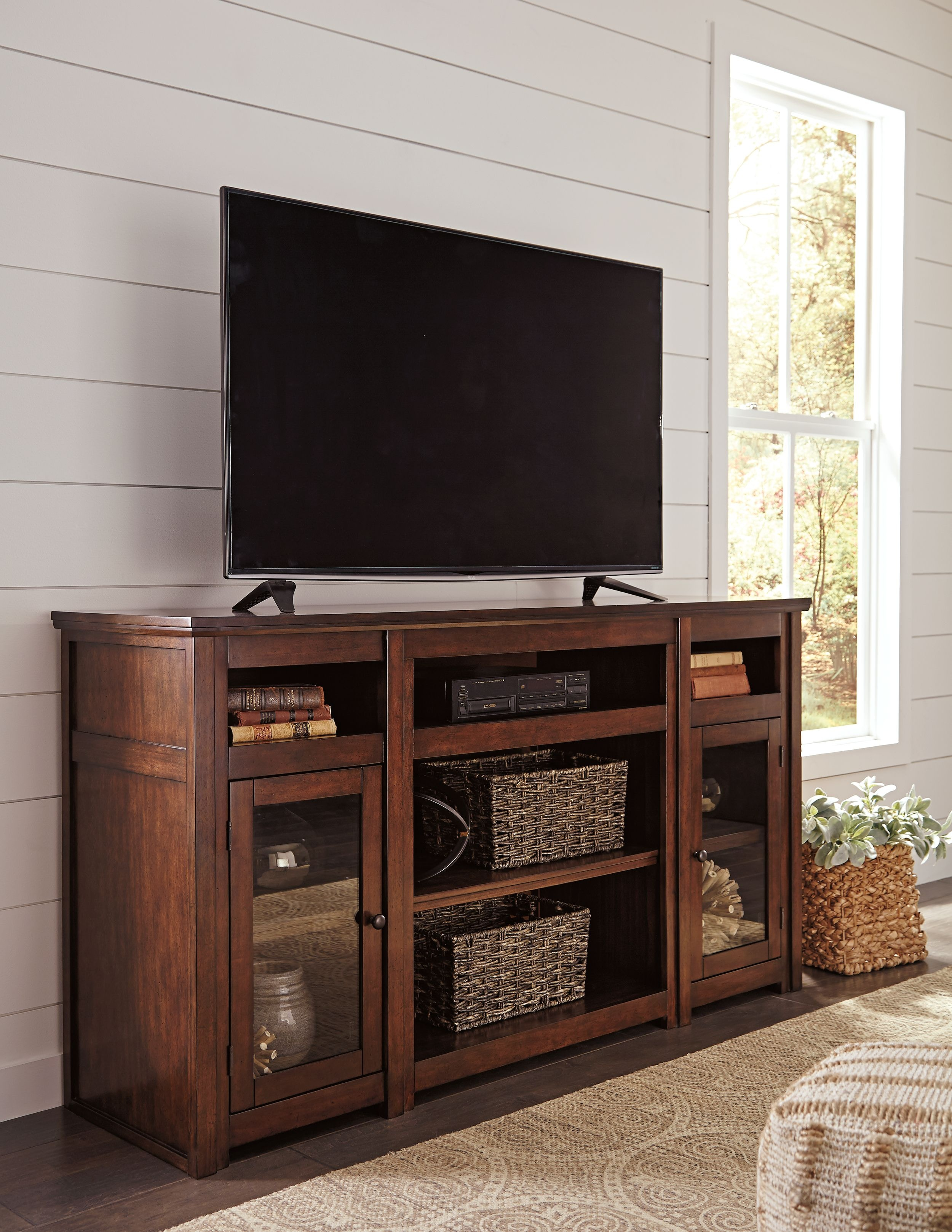 Signature Design by Ashley Harpan XL TV Stand w/Fireplace ...