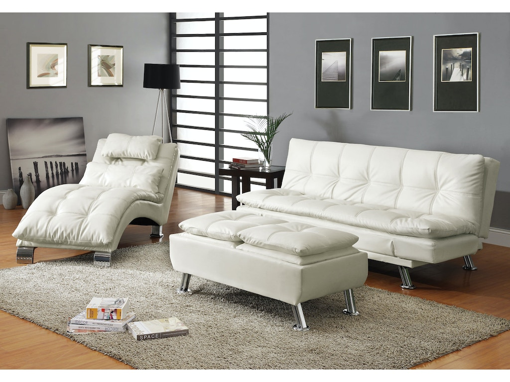 Coaster living room chaise 550078 adams furniture for Adams white chaise lounge