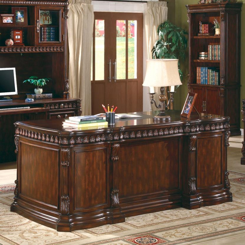 Union Hill Double Pedestal Desk With Leather Insert Top