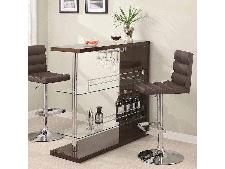 Coaster bar and game room bar unit 100135 patrick for Petite table de bar