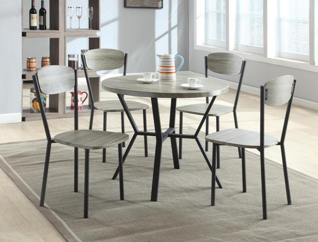 Crown Mark Blake 5 PK Round Dining Table/Chair 1230SET GY