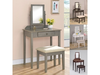 Crown Mark Bedroom Iris Vanity Table And Stool 2208set Wh