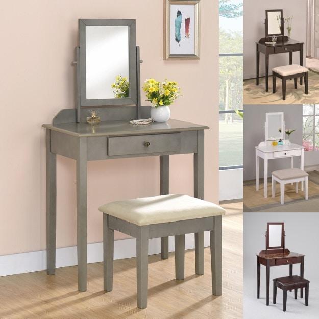 Crown Mark Bedroom Iris Vanity Table And Stool Four