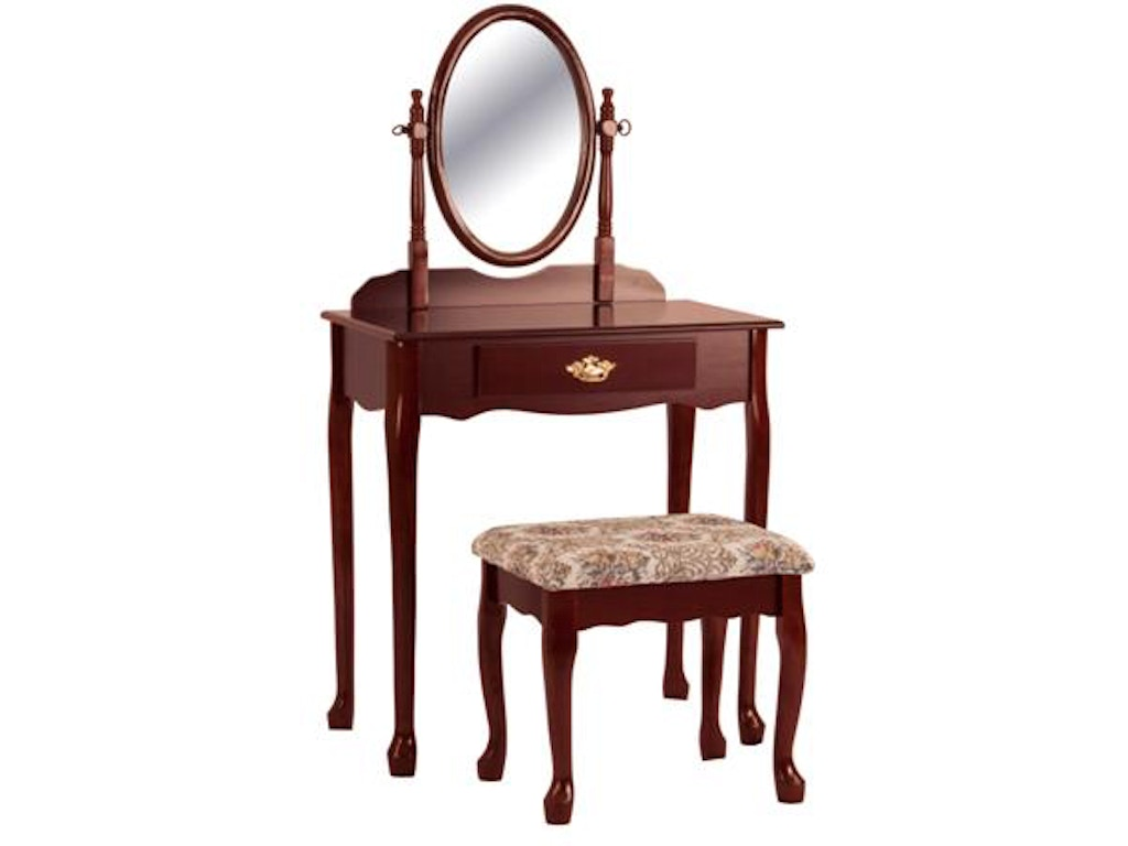 Crown Mark Bedroom Cherry Oval Vanity Table And Stool 2209set Great Deals On Furniture