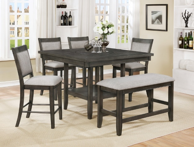 Crown Mark Bar And Game Room Fulton Counter Height Table Grey