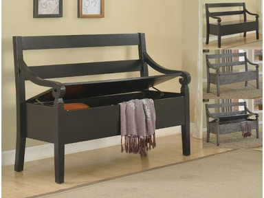 Crown Mark Kennedy Storage Bench Espresso 4183-BENCH-ESP